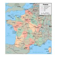 Large Scale Map Of France.Large Scale Old Political And Administrative Map Of France