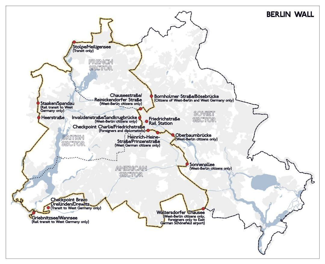 Large Berlin Wall map