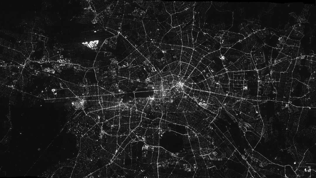 Large detail map of Berlin at night