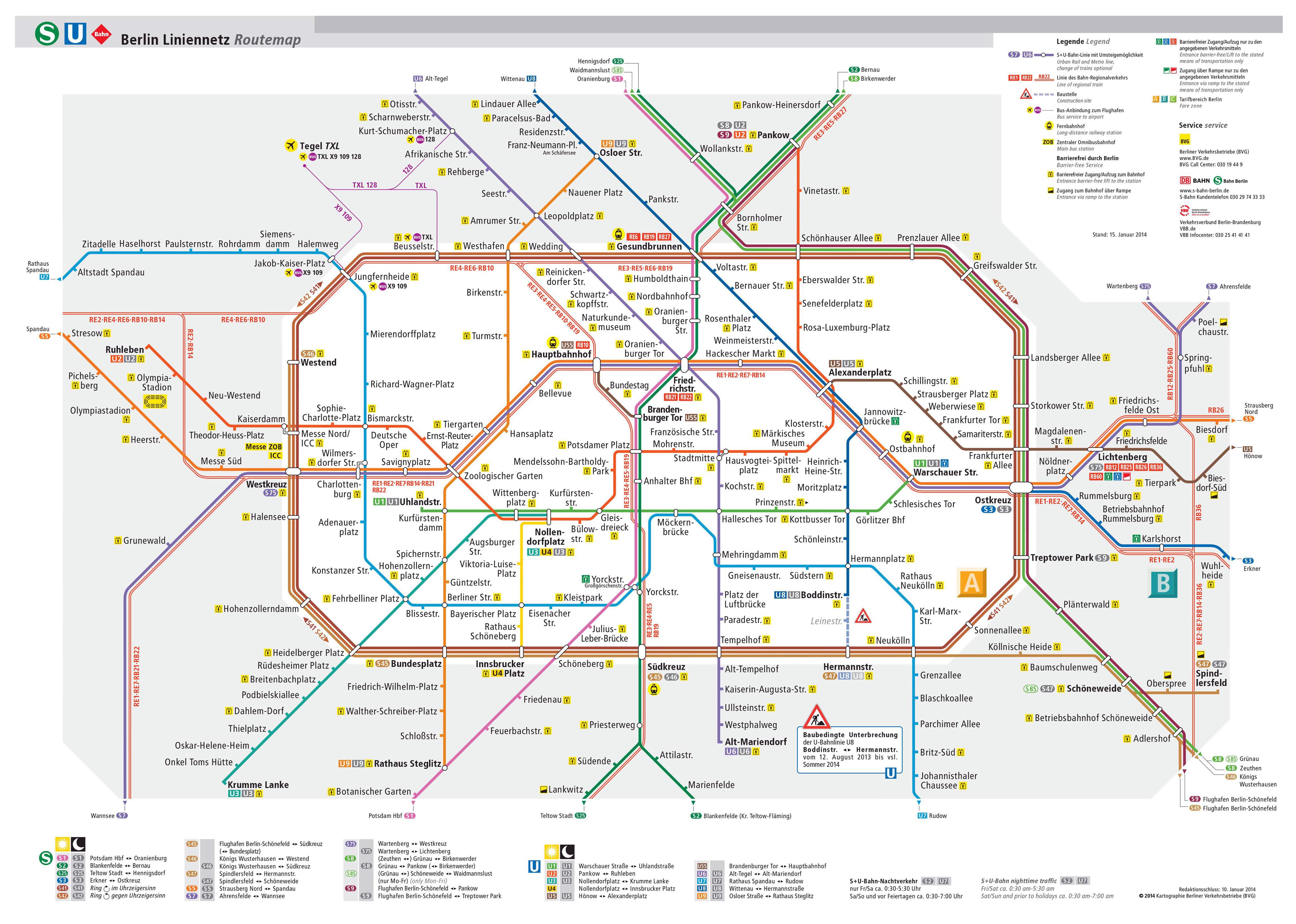 Large detailed Berlin UBahn map Berlin Germany Europe