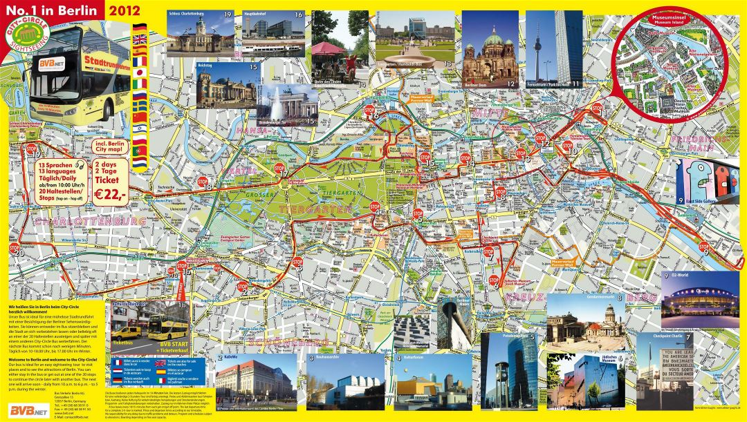 Large detailed hop on hop off bus tourist map of Berlin