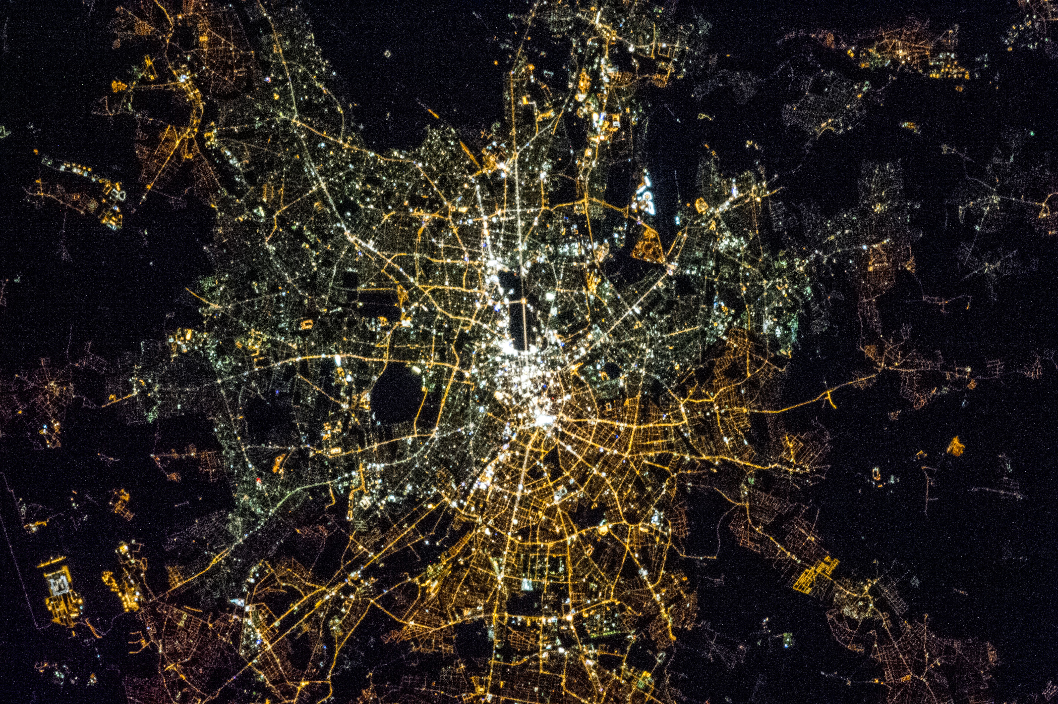 Large detailed satellite map of Berlin at night Berlin Germany