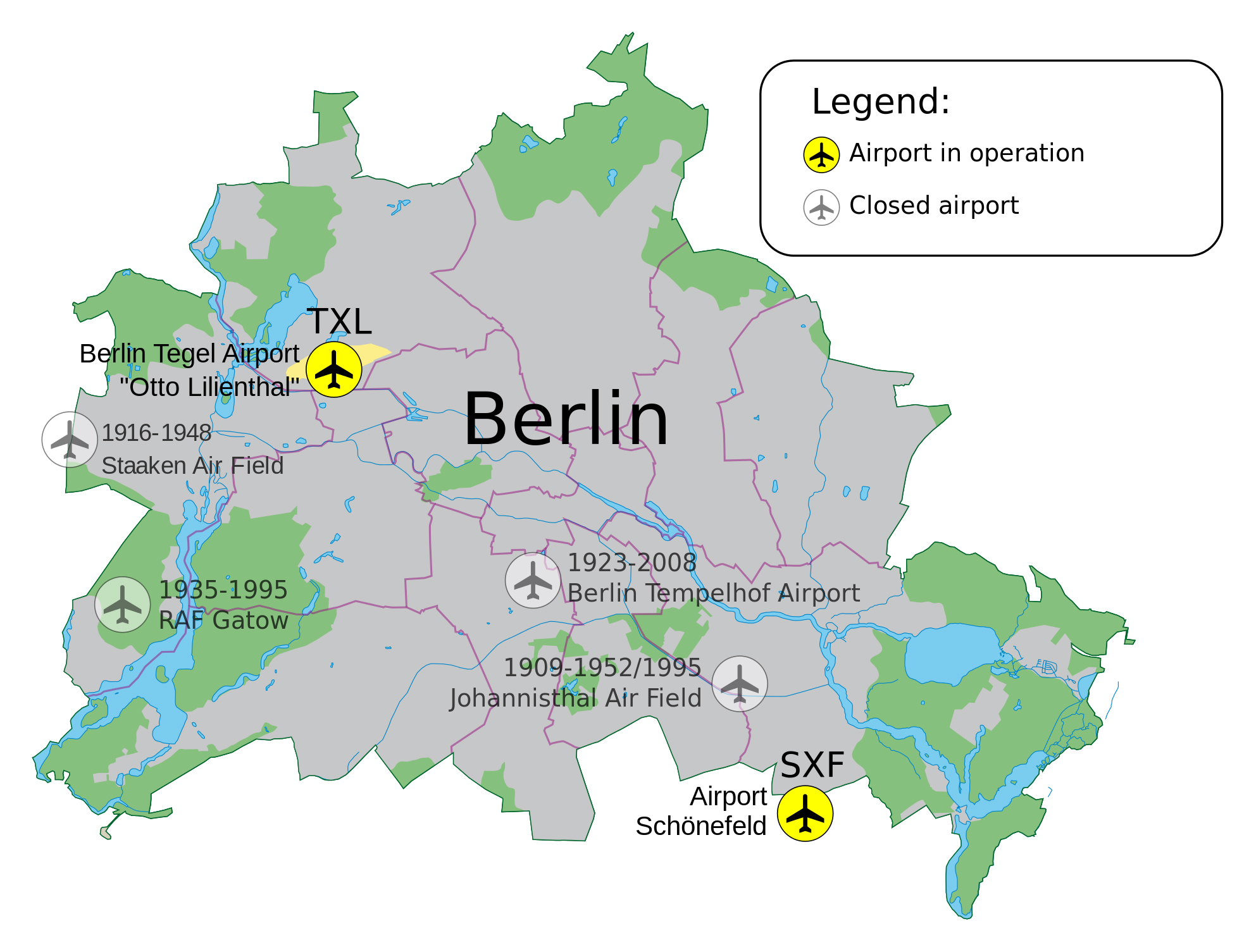 Large map of Berlin airports | Berlin | Germany | Europe ...