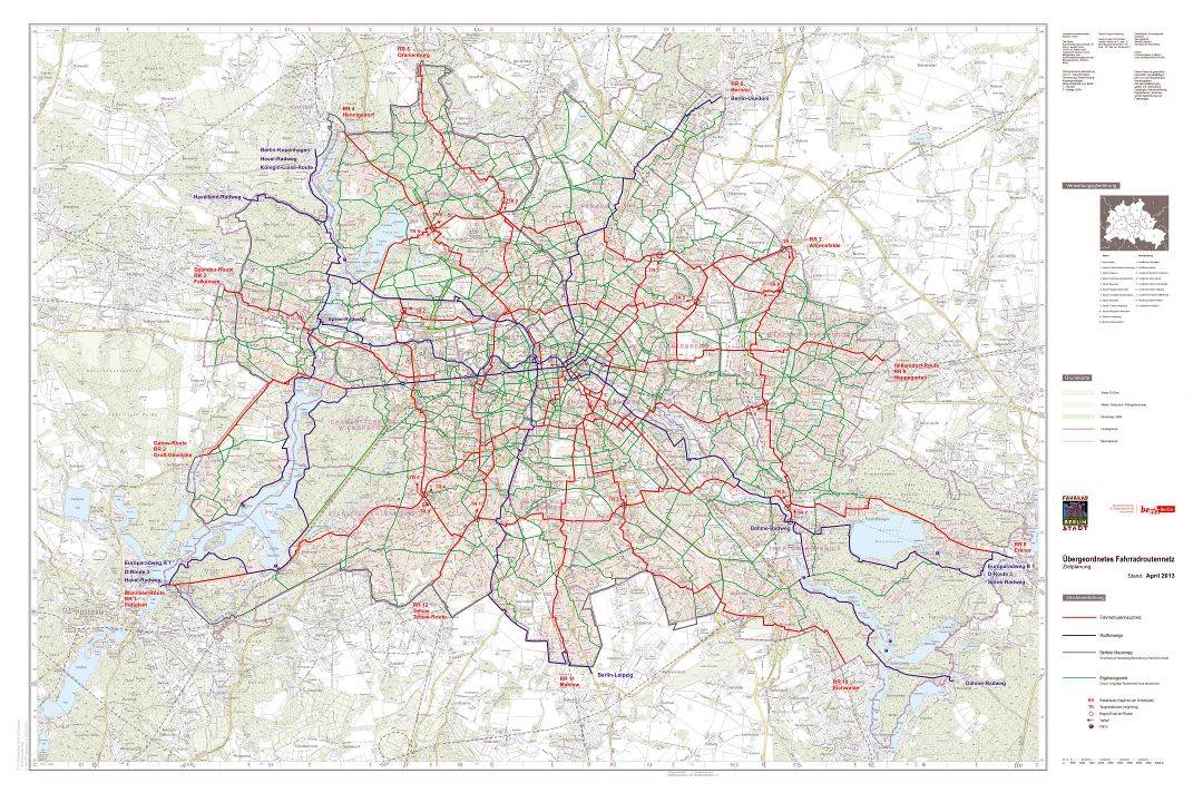 Large scale Berlin bike paths map