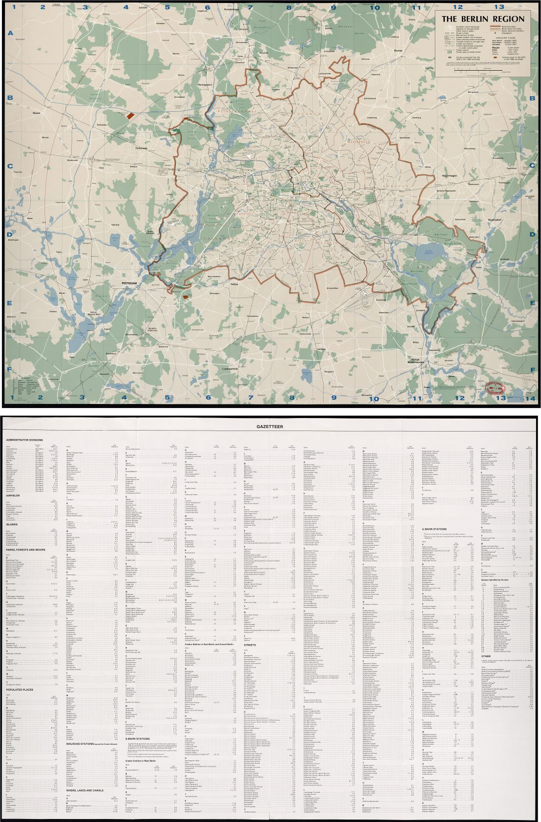 Large scale detail map of the Berlin region - 1989