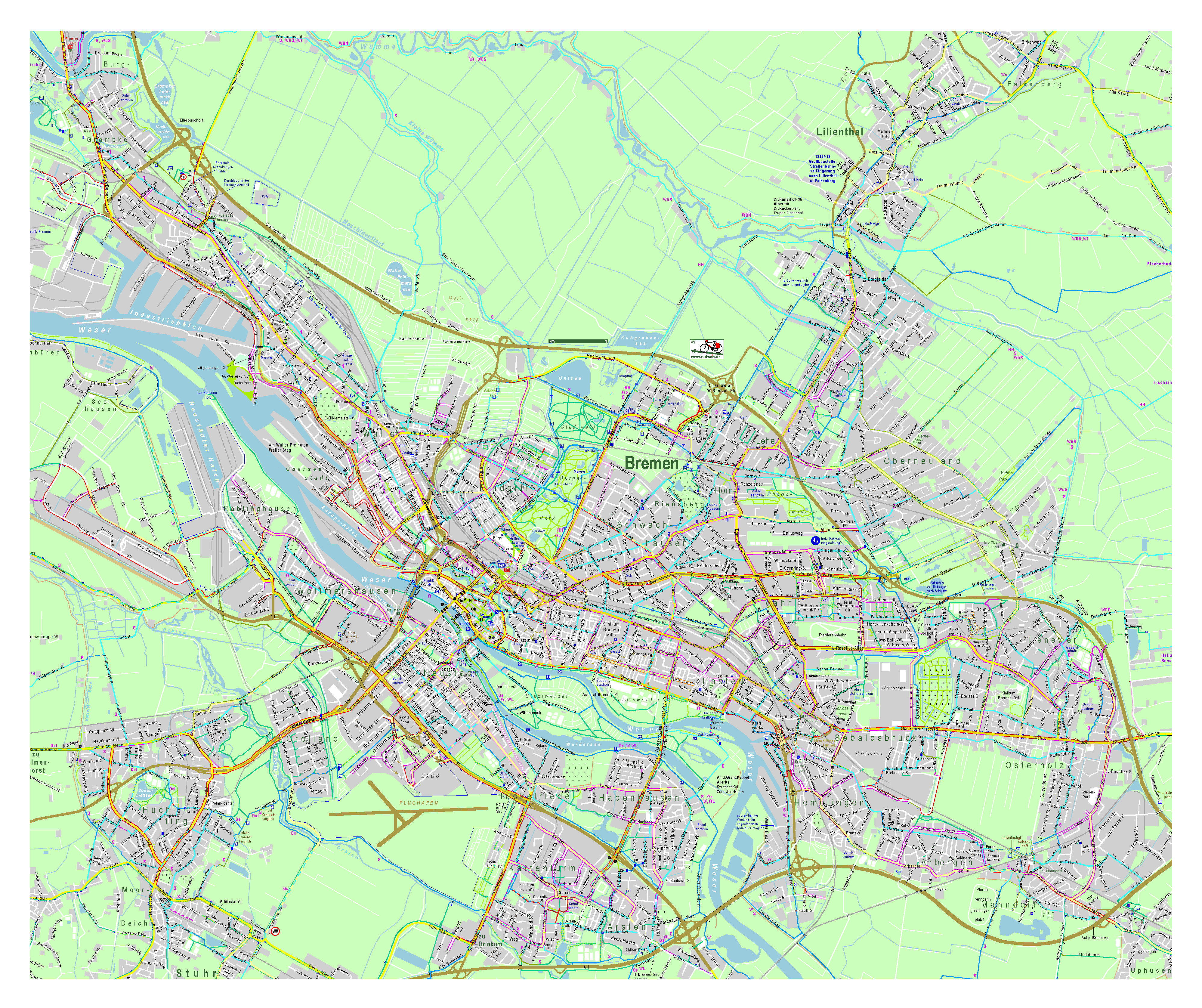 Map Of Bremen Germany.Large Detailed Map Of Bremen City Bremen Germany Europe