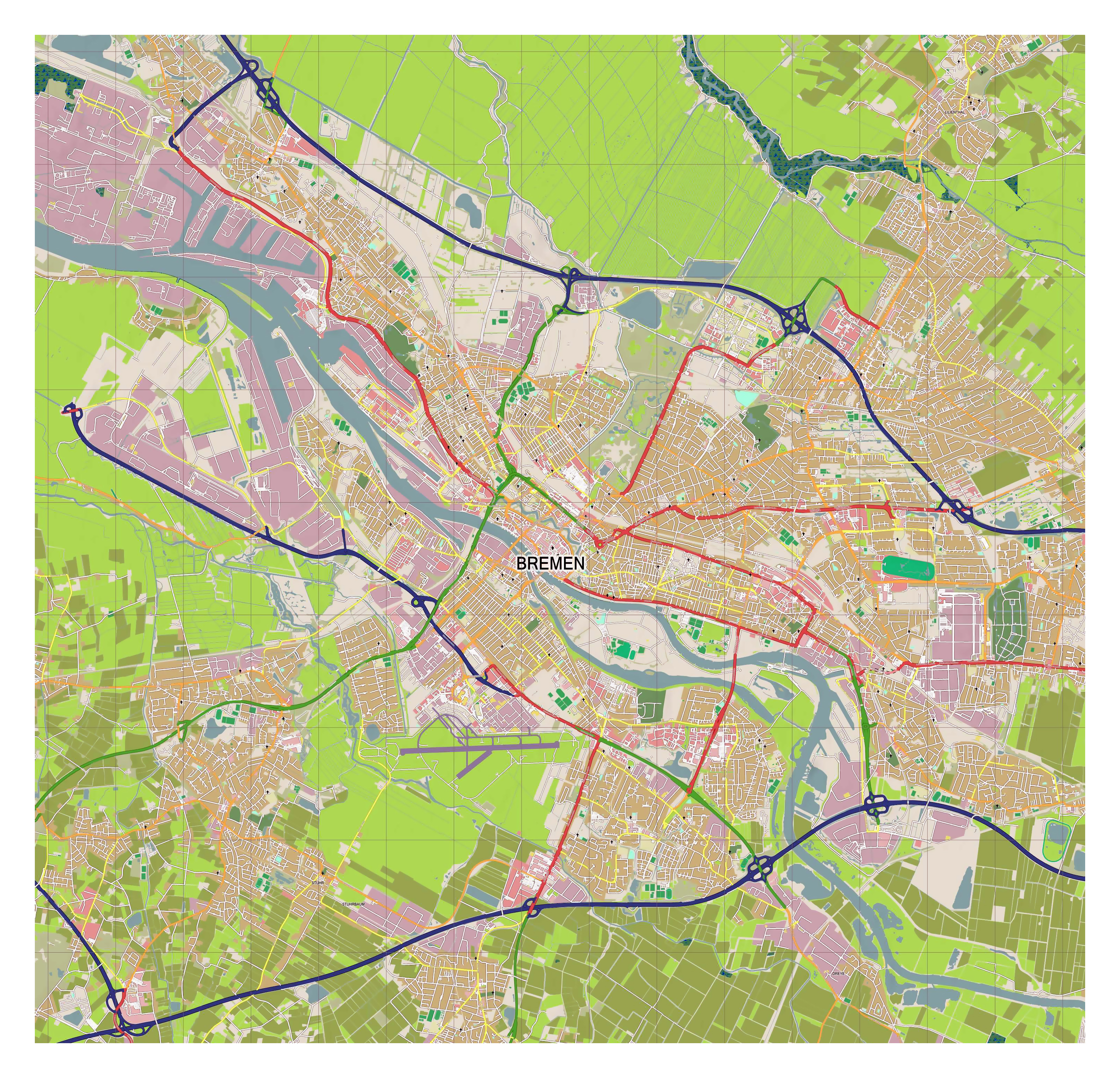 Map Of Bremen Germany.Large Detailed Map Of Bremen Bremen Germany Europe Mapsland