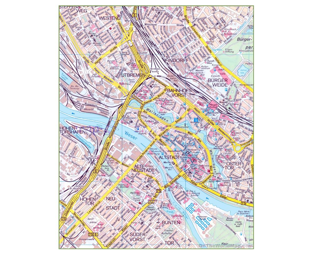 Maps of Bremen   Detailed map of Bremen in English   Tourist map ...
