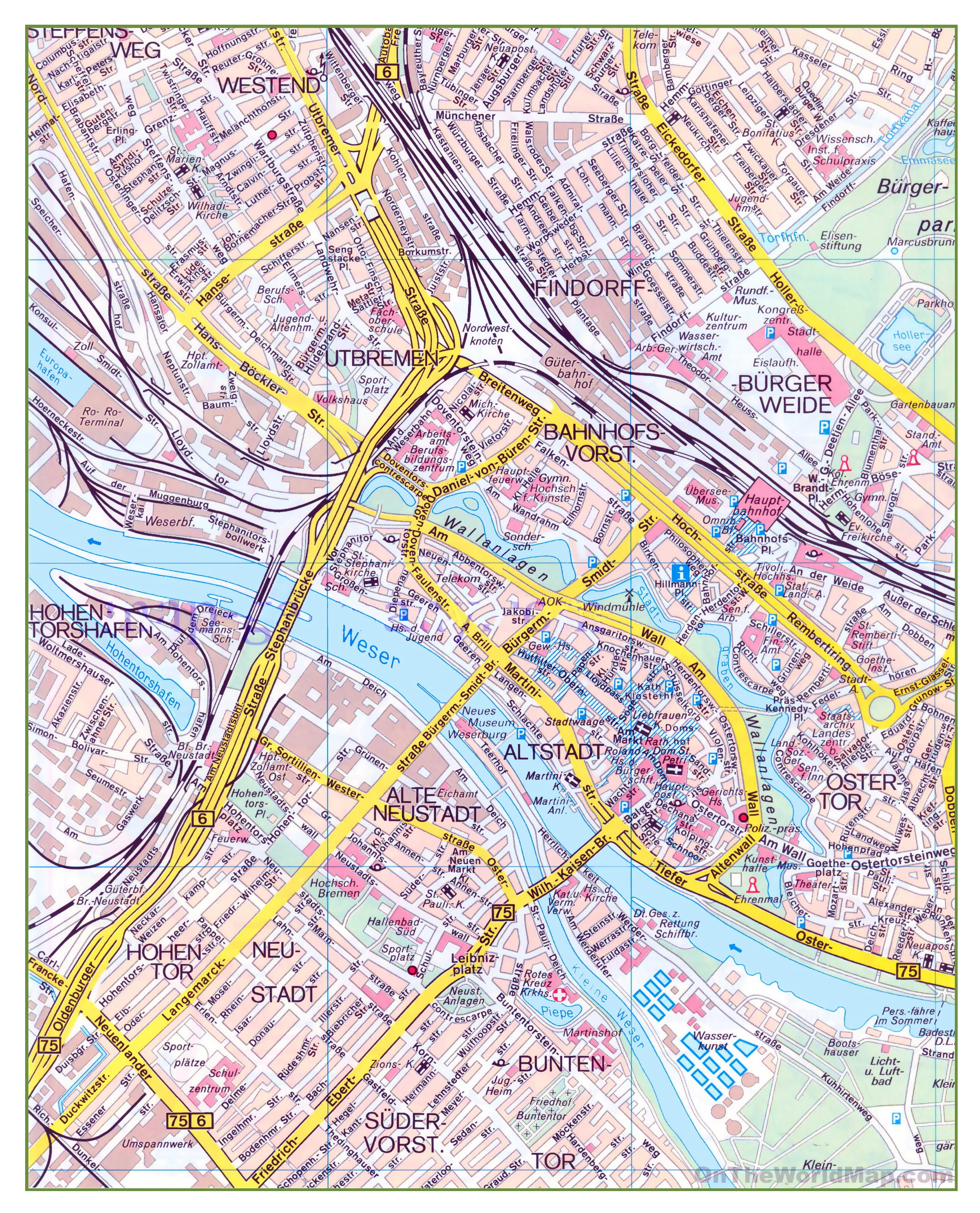 Large detailed map of central part of Bremen city | Bremen | Germany ...
