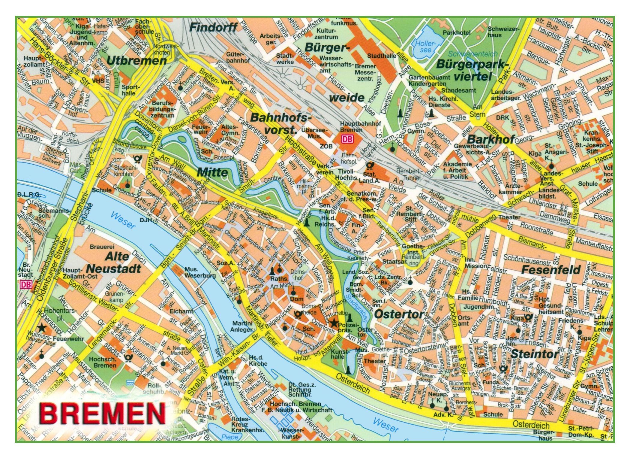 Map Of Central Germany.Large Detailed Map Of Central Part Of Bremen Bremen Germany