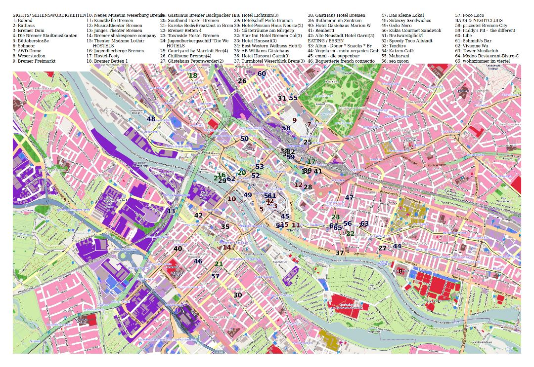 Large detailed tourist map of Bremen city central part