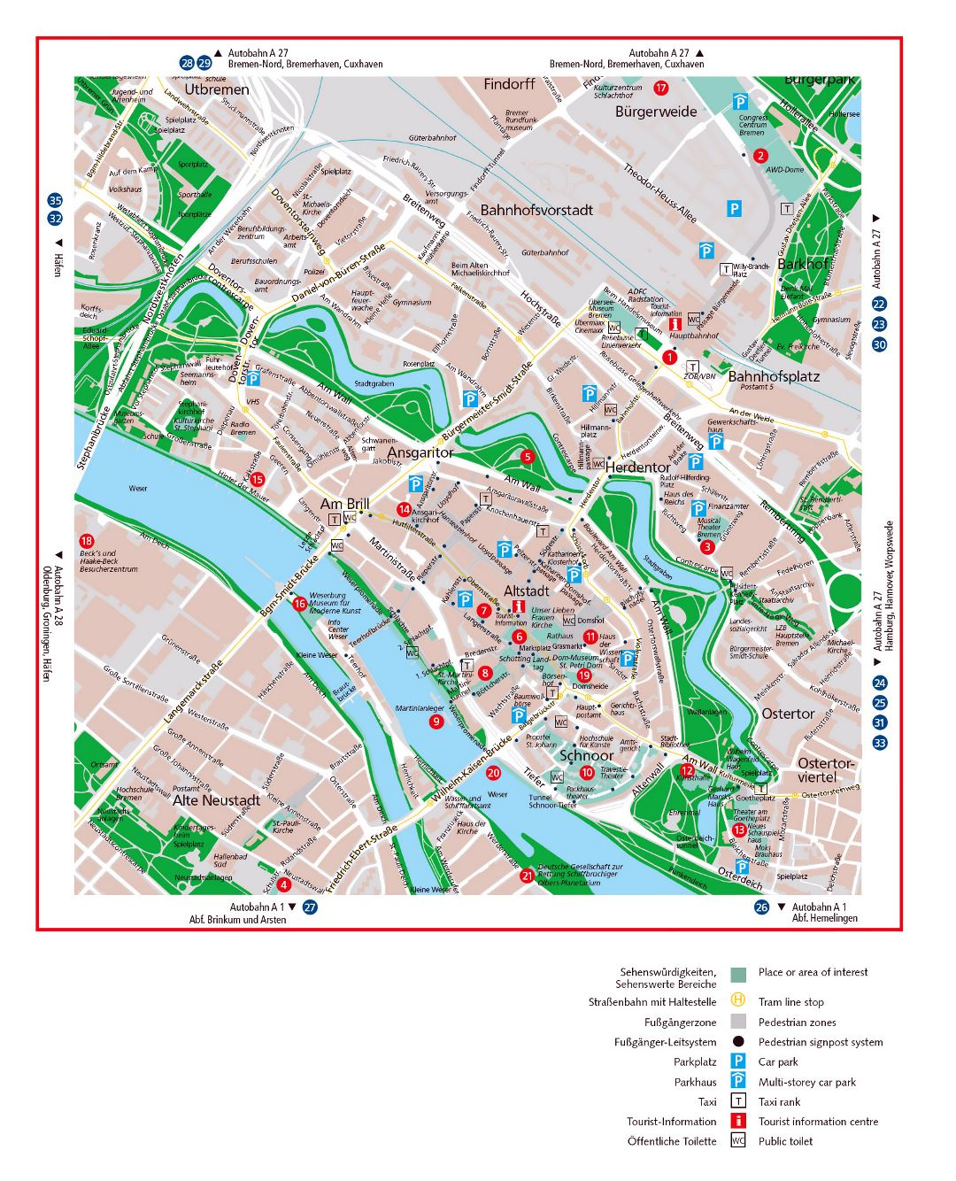 Large detailed travel map of Bremen city