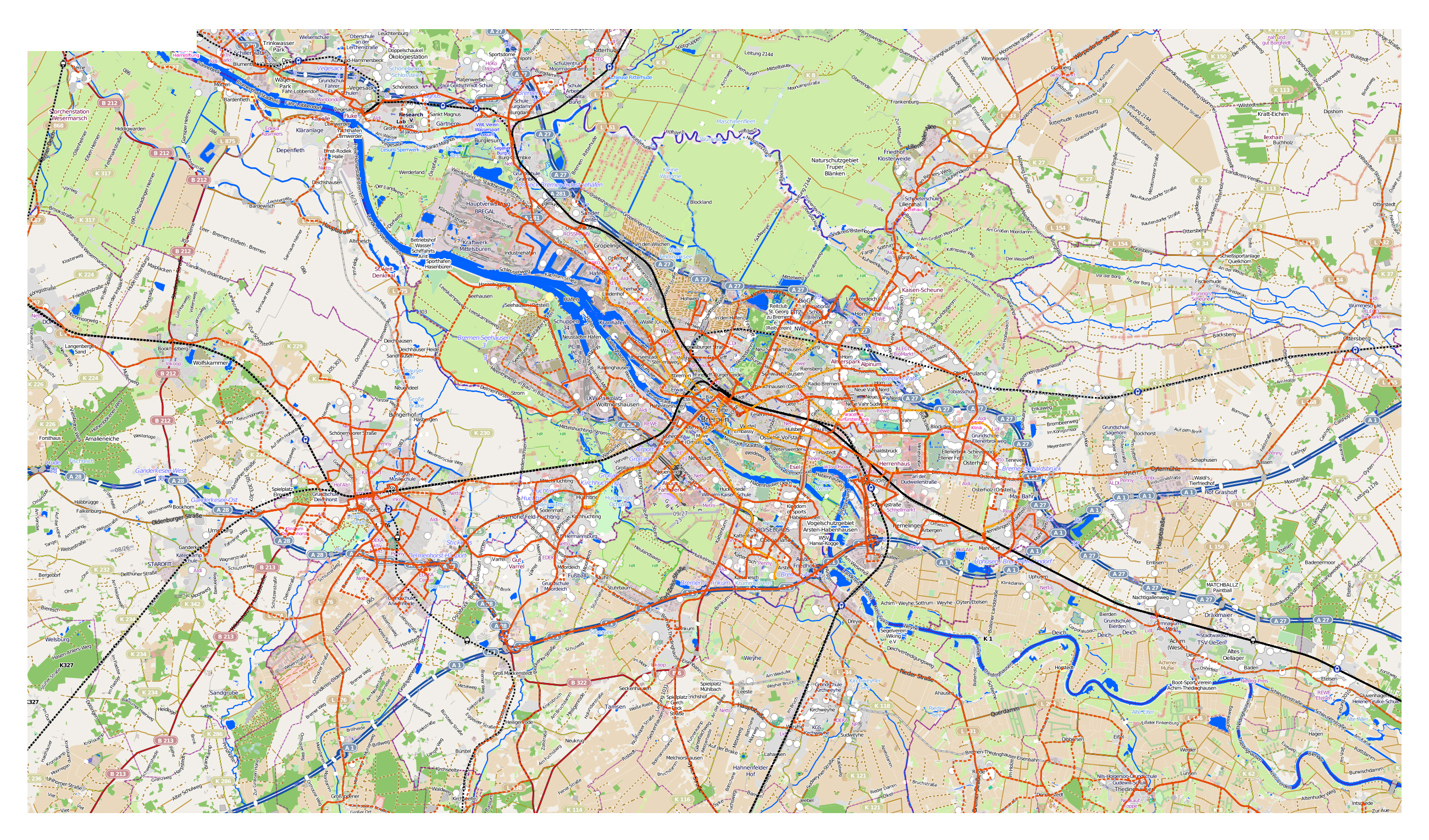 Map Of Bremen Germany.Large Map Of Bremen City And Its Surroundings Bremen Germany