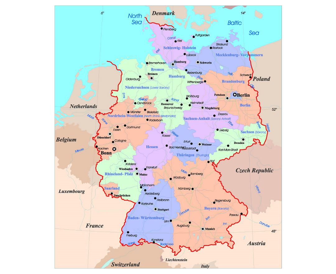 Delightful Detailed Administrative Map Of Germany With Major Cities