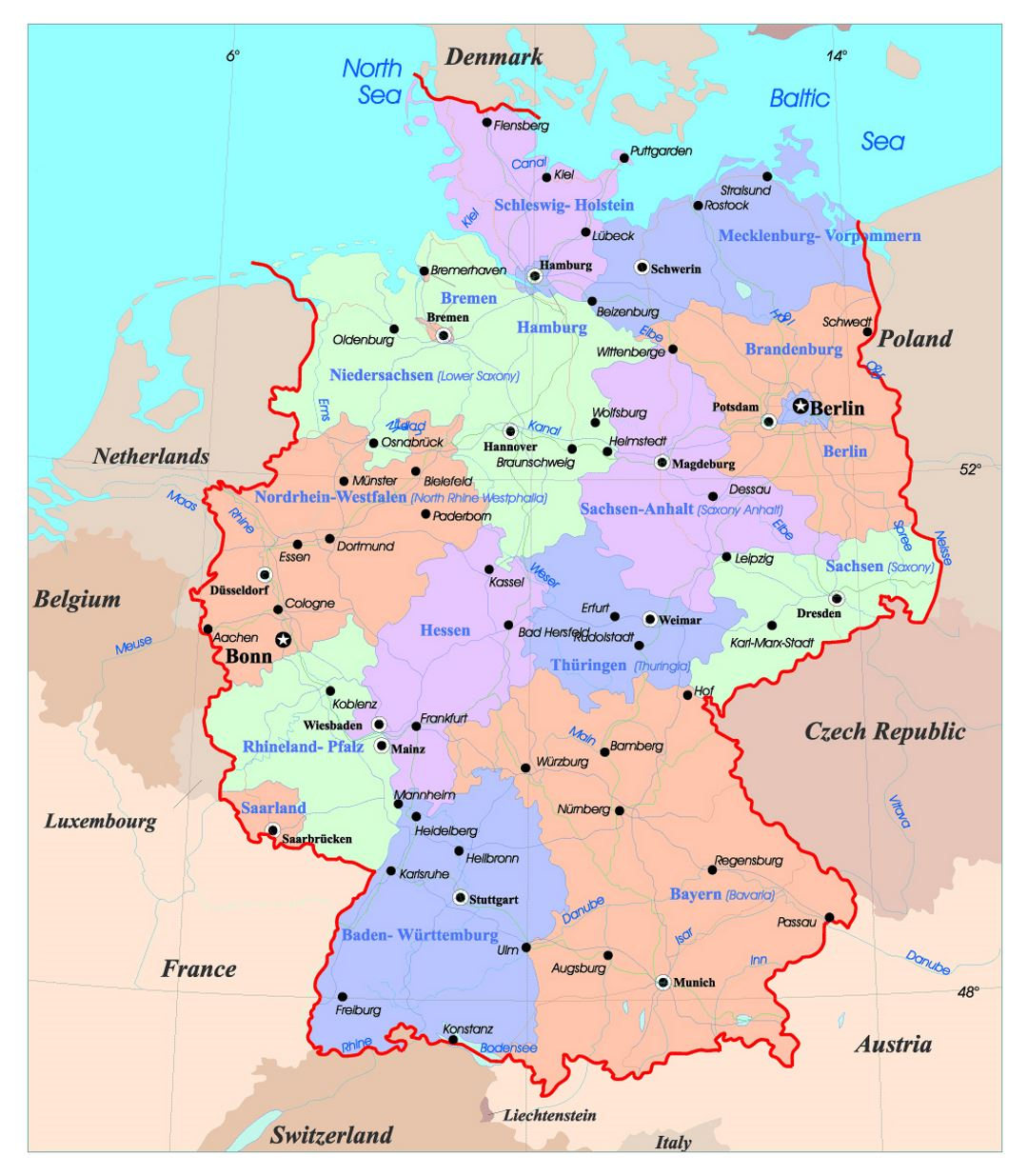 detailed administrative map of germany with major cities