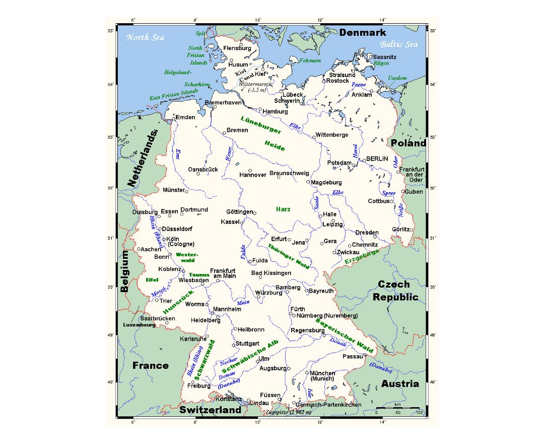 Detailed map of Germany with major cities