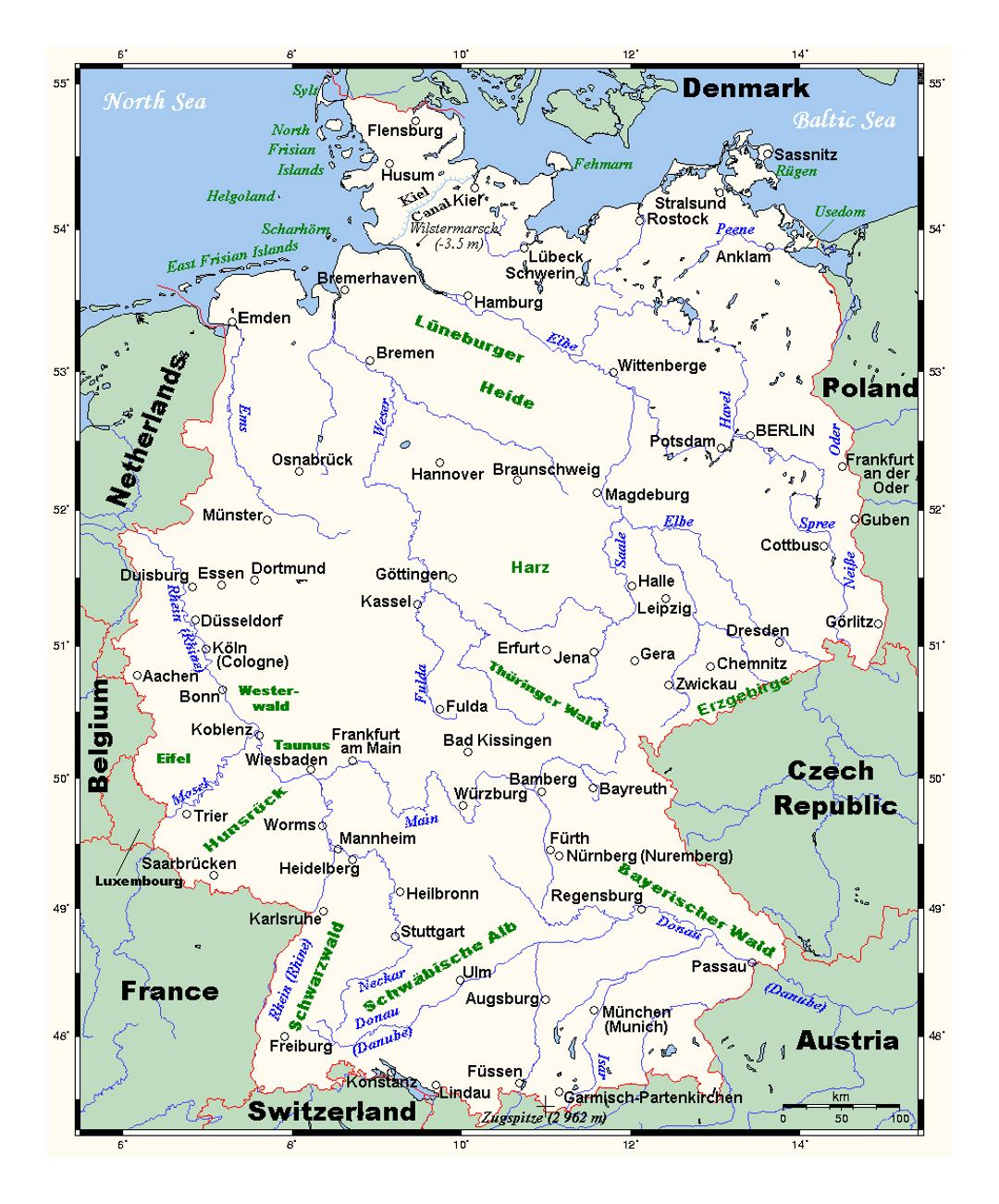Detailed map of Germany with major cities | Germany | Europe ...