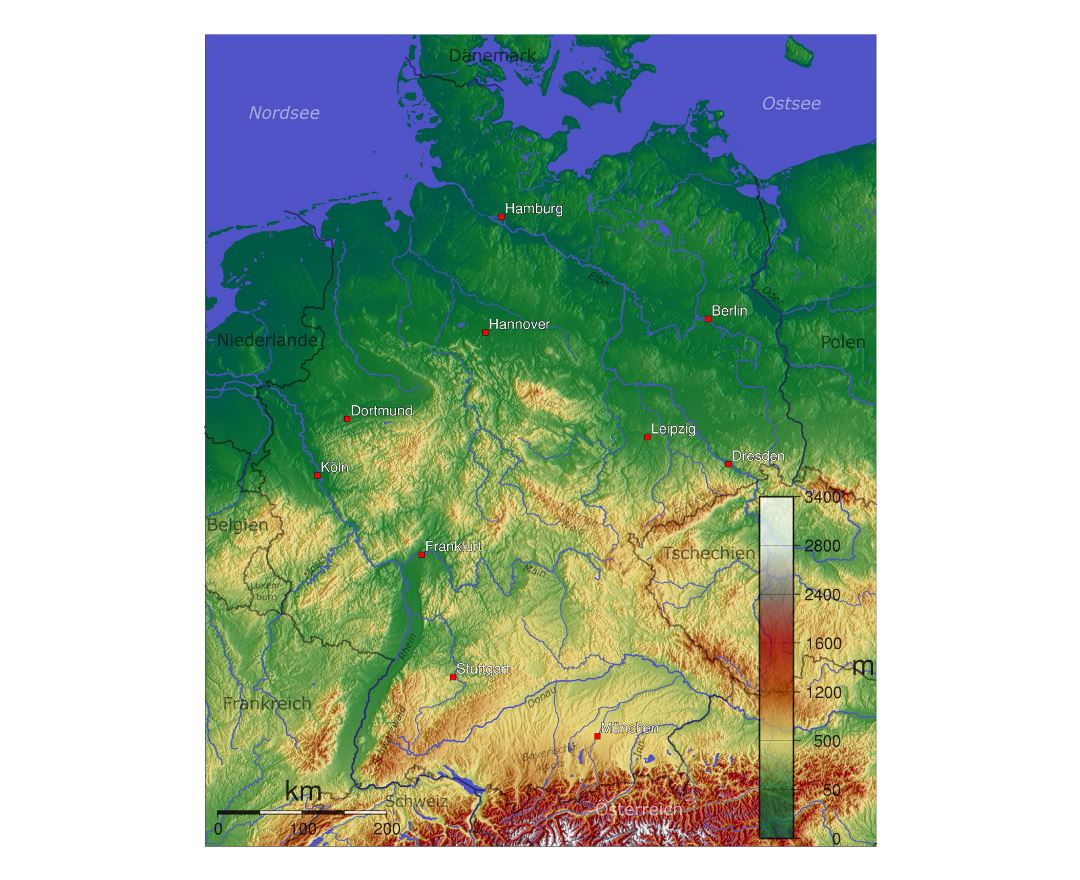 Maps Of Germany Detailed Map Of Germany In English Tourist Map - Germany physical map
