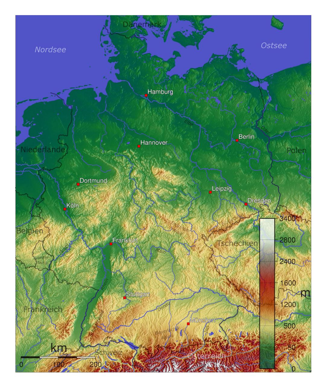 Detailed physical map of Germany
