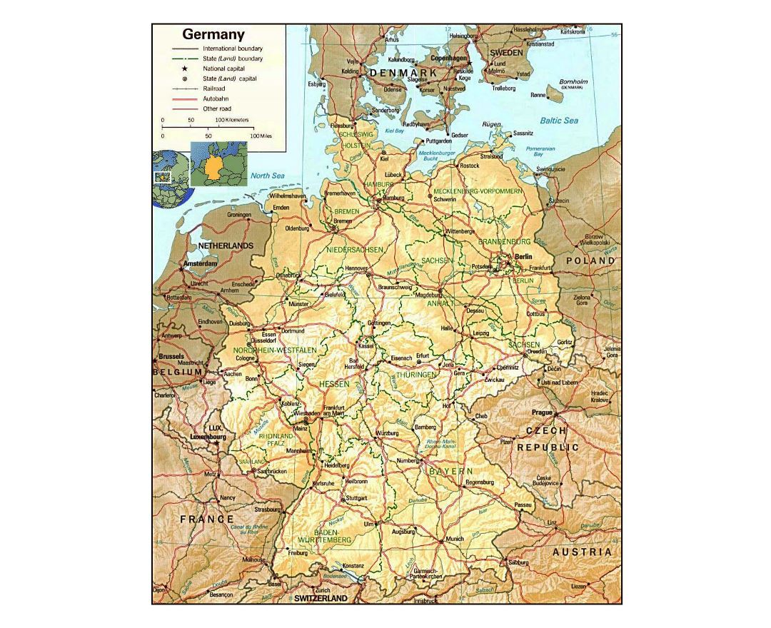 Detailed political and administrative map of Germany with relief