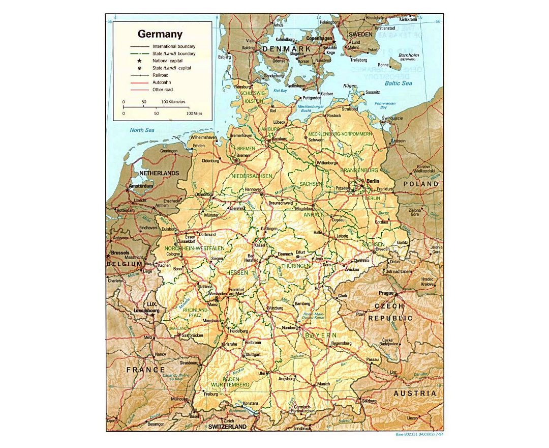 Detailed Political And Administrative Map Of Germany With Relief, Roads And  Major Cities   1994