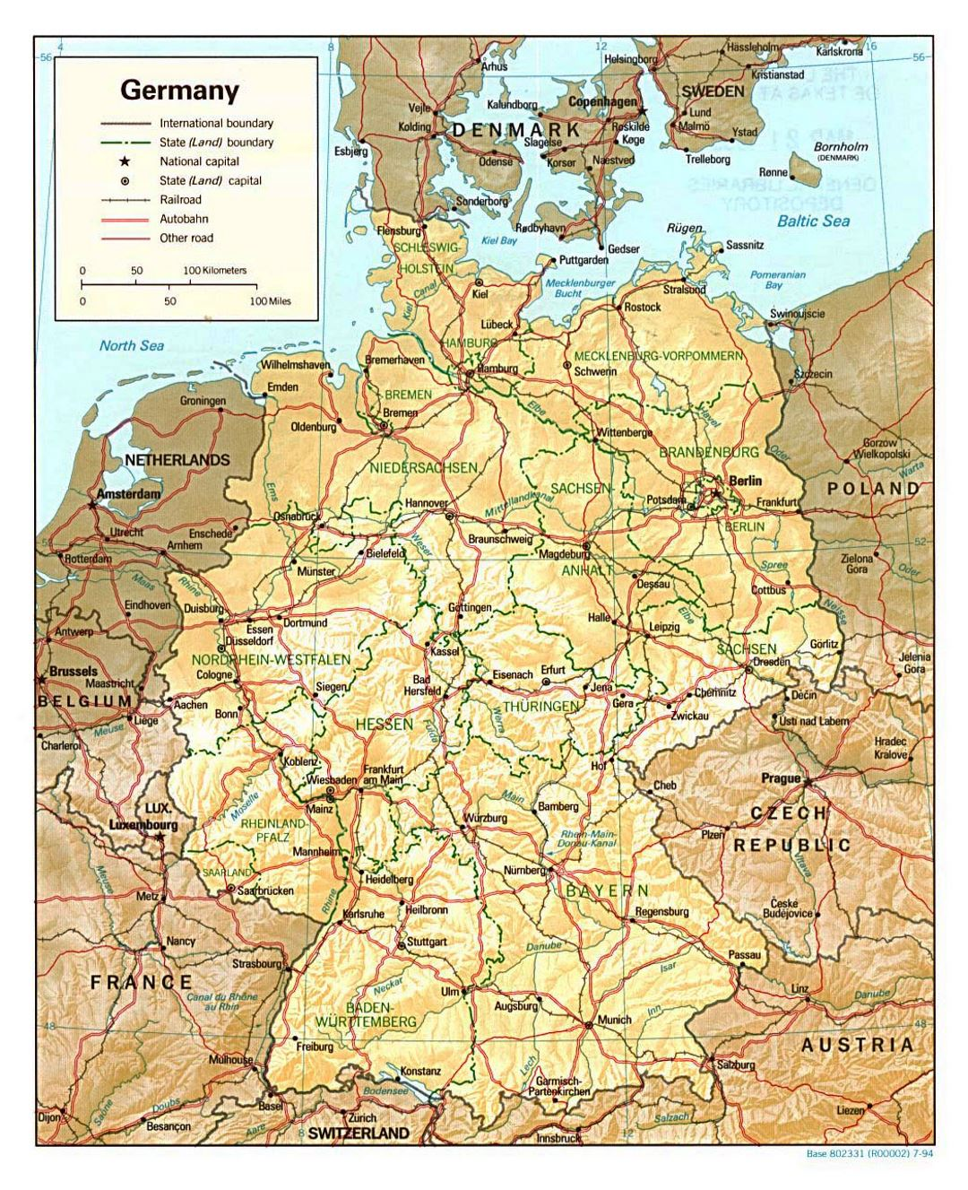 Detailed political and administrative map of Germany with relief, roads and major cities - 1994