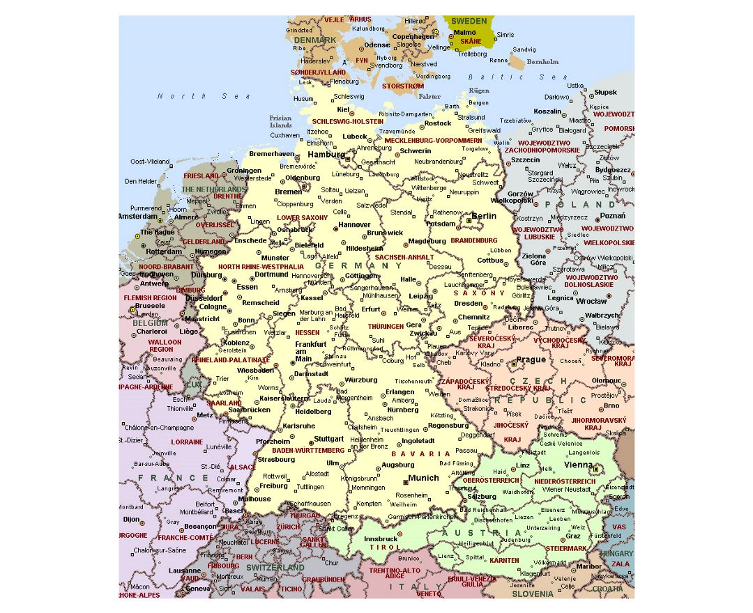 Detailed political map of Germany with administrative divisions and major cities