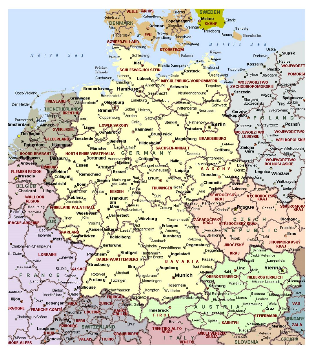 Detailed political map of Germany with administrative ...