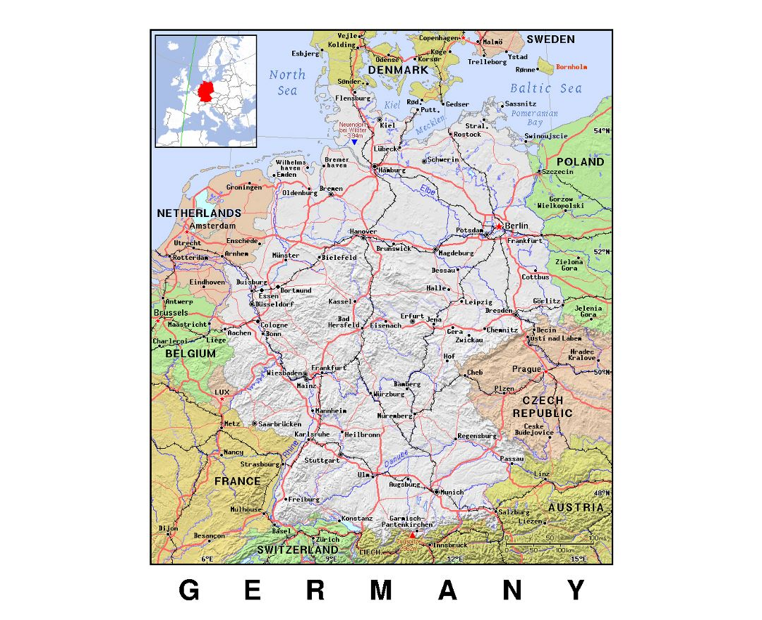 detailed political map of germany with relief