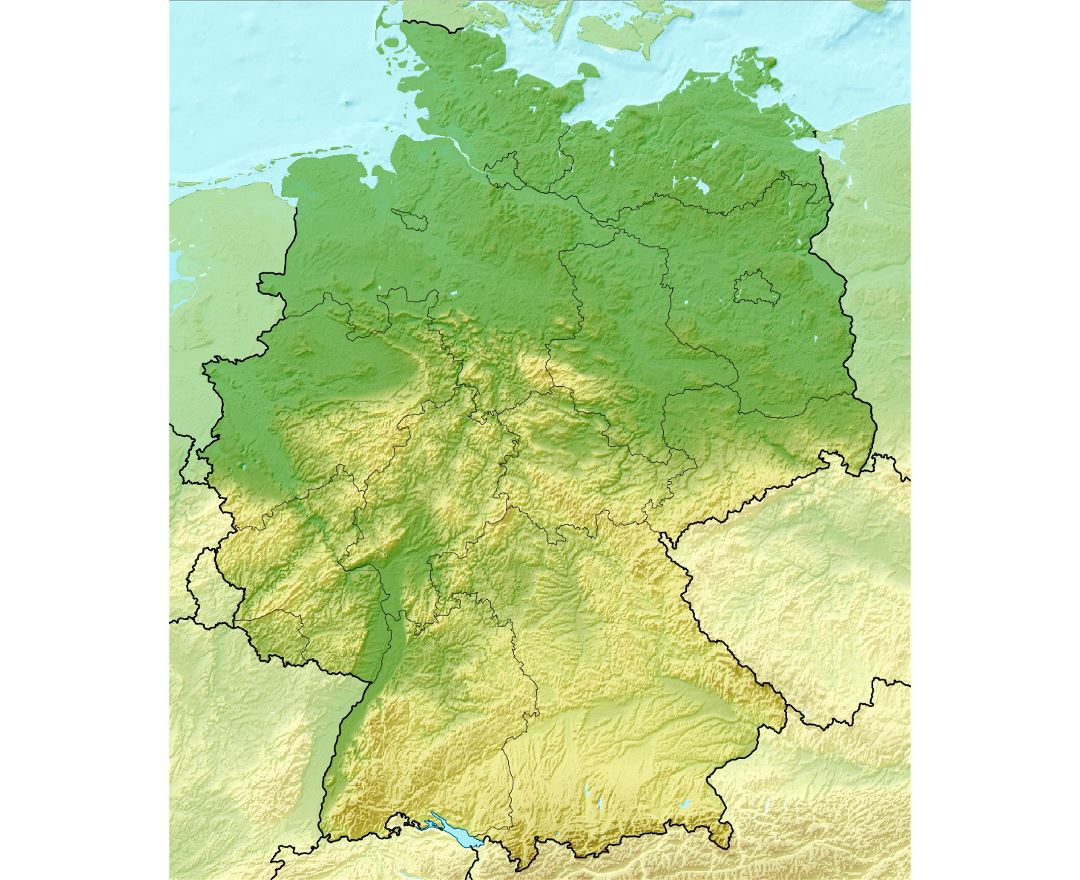 Detailed relief map of Germany