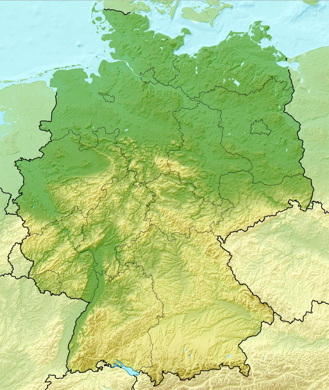 Detailed relief map of Germany | Germany | Europe | Mapsland ...