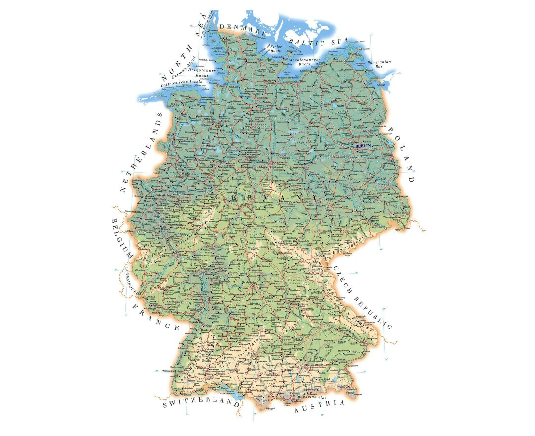 Detailed road and physical map of Germany