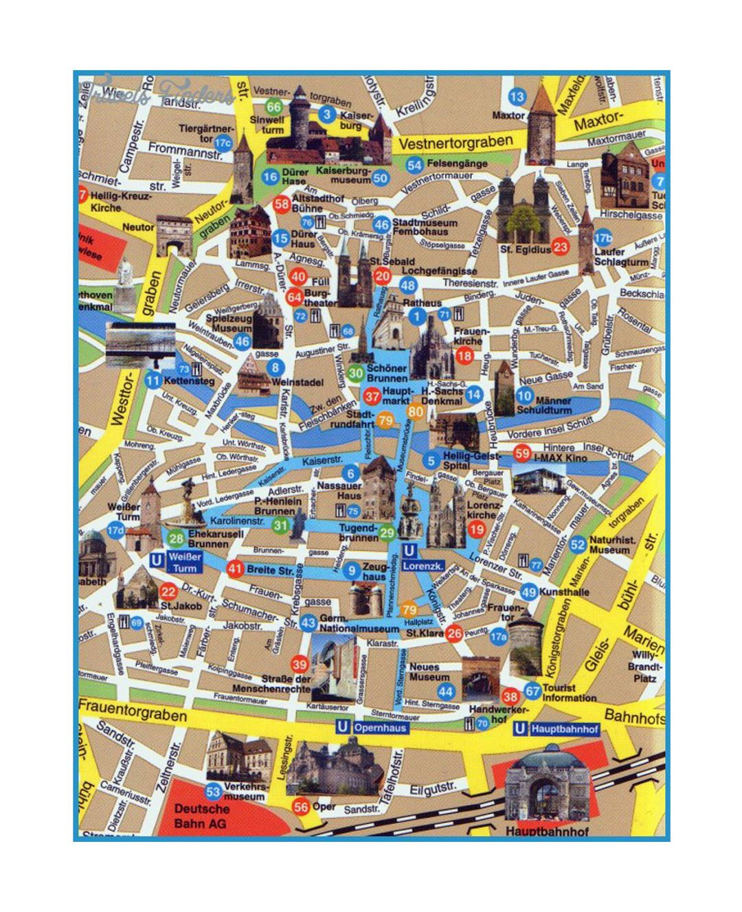 Tourist Map Of Germany.Detailed Tourist Map Of Central Part Of Dresden City Dresden