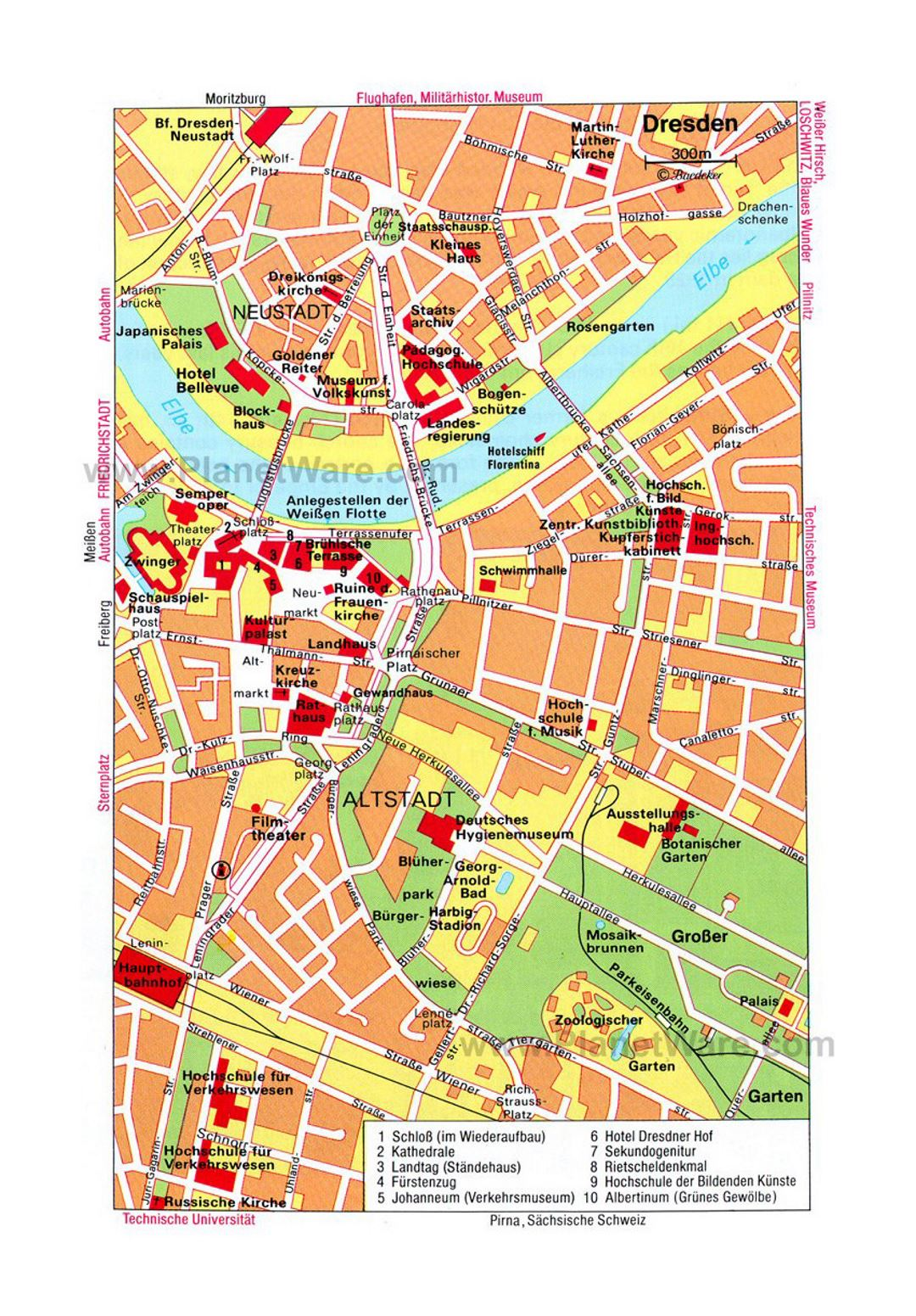 Dresden On Map Of Germany.Detailed Travel Map Of Central Part Of Dresden City Dresden