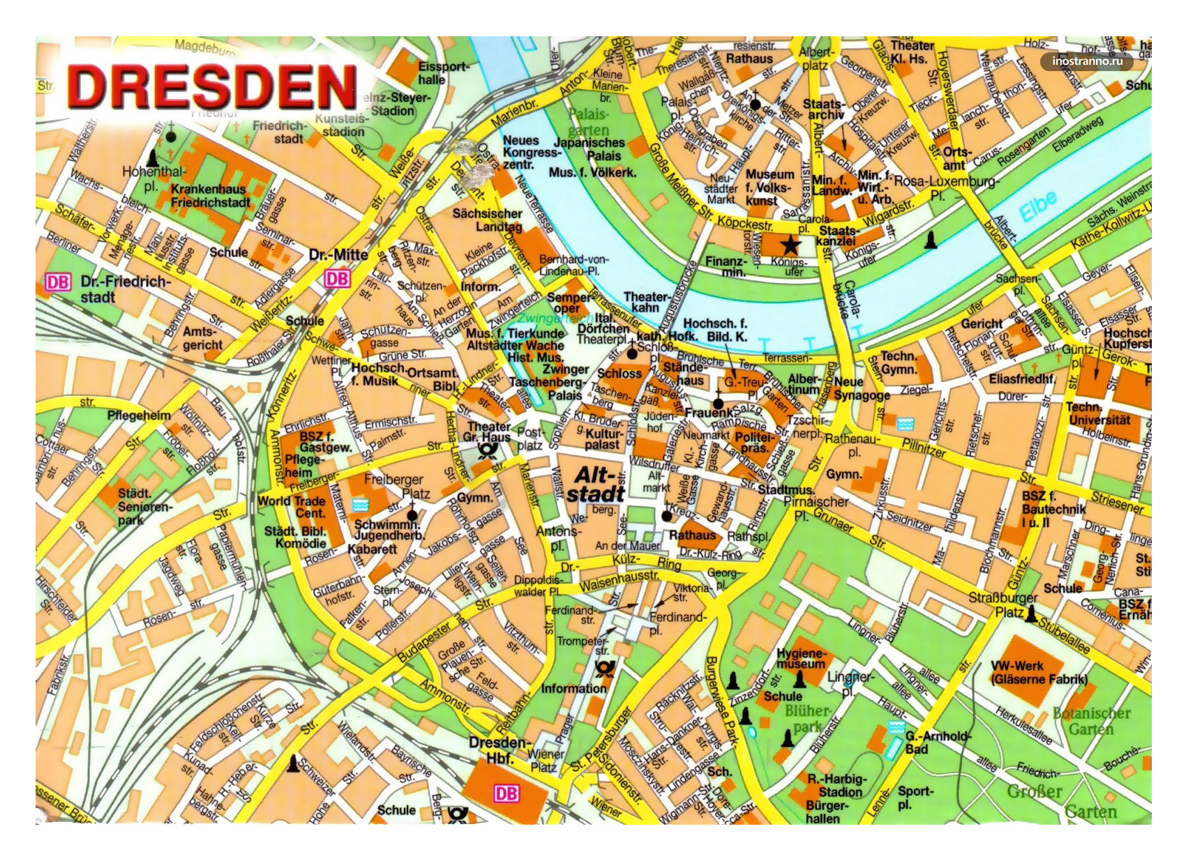 Large detailed map of central part of Dresden city | Dresden ... on
