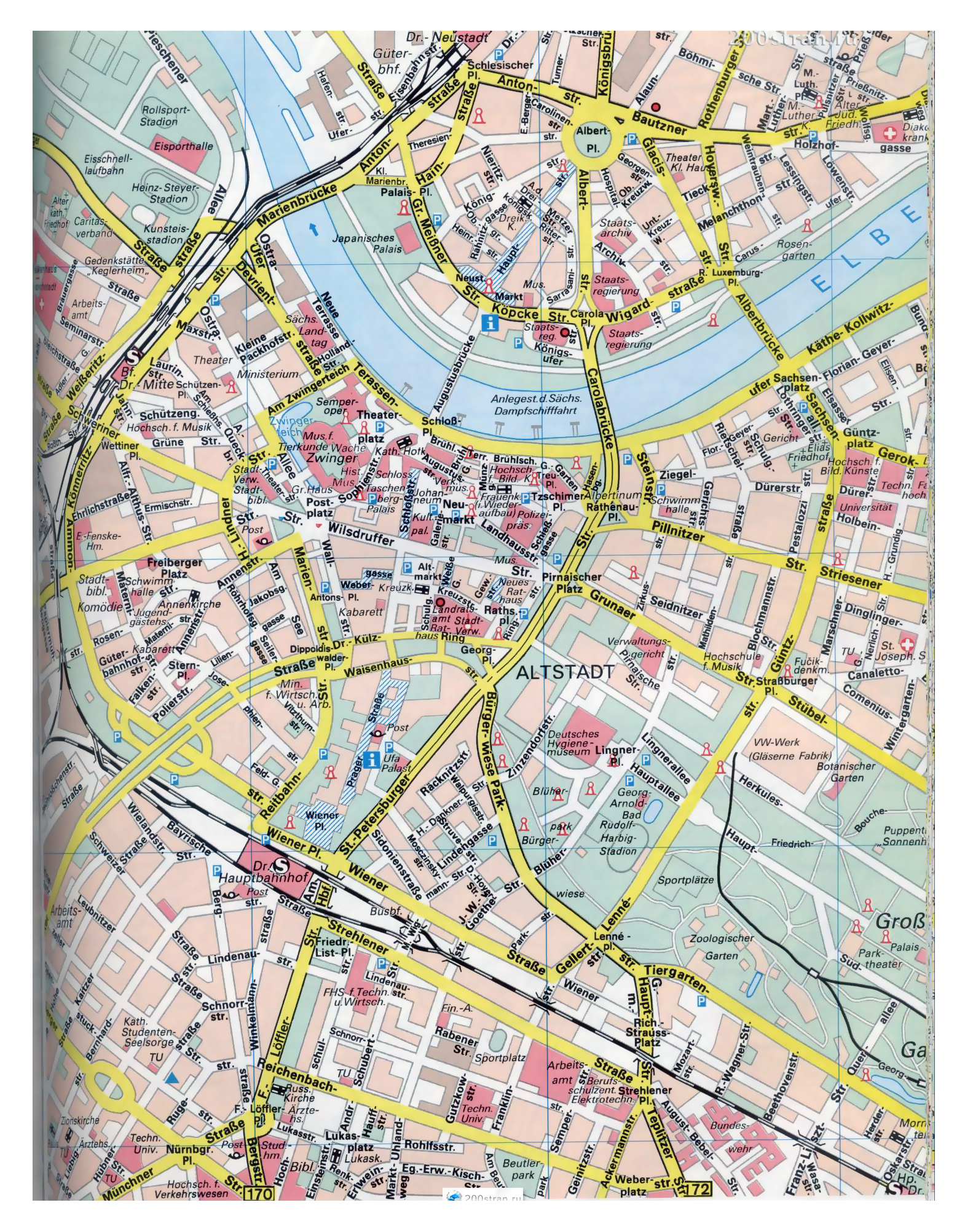 Dresden On Map Of Germany.Large Detailed Streets Map Of Central Part Of Dresden City Dresden