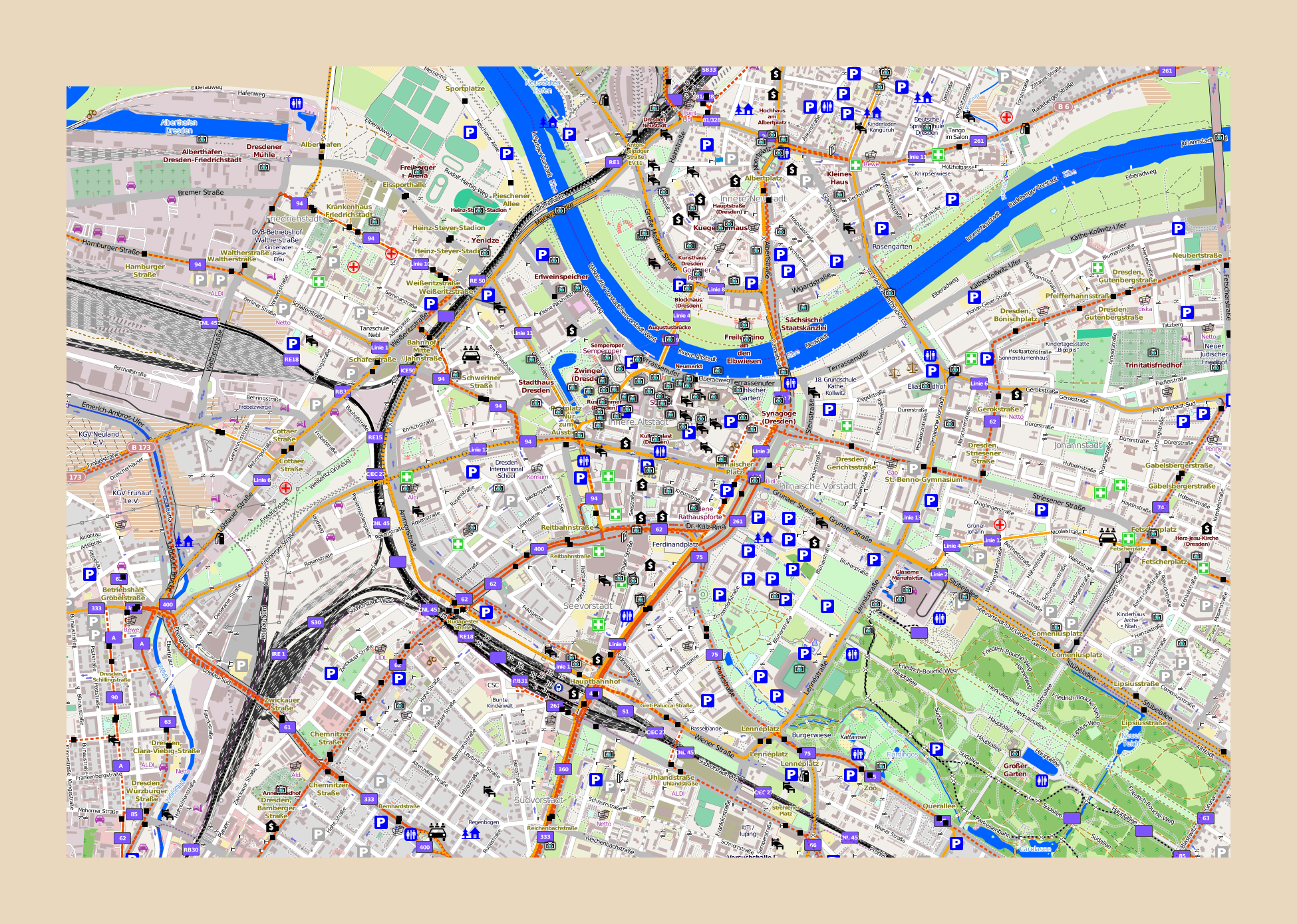 Dresden On Map Of Germany.Large Map Of Dresden With Other Marks Dresden Germany Europe