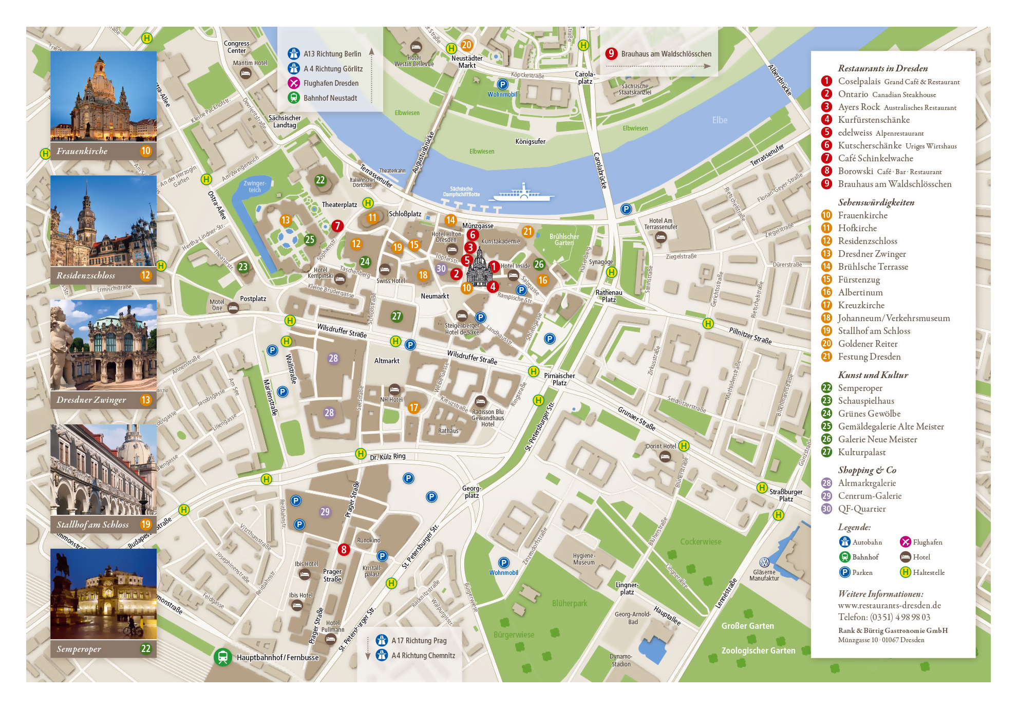 Large tourist map of central part of Dresden city | Dresden ... on