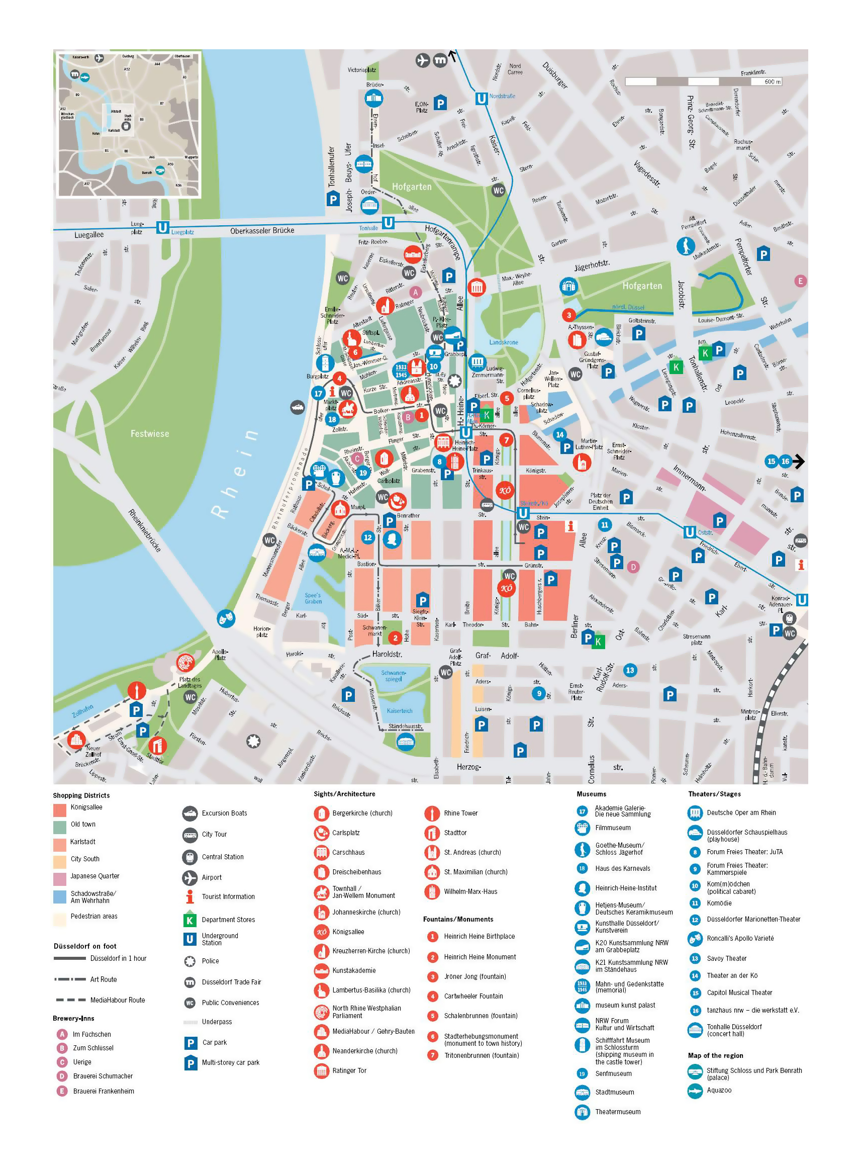 Large detailed tourist map of central part of Dusseldorf ... on map of sydney australia, map of rail dusseldorf to cologne germany, map of wittlich germany and dusseldorf, map of krefeld, map of europe, map of germany dusseldorf germany,
