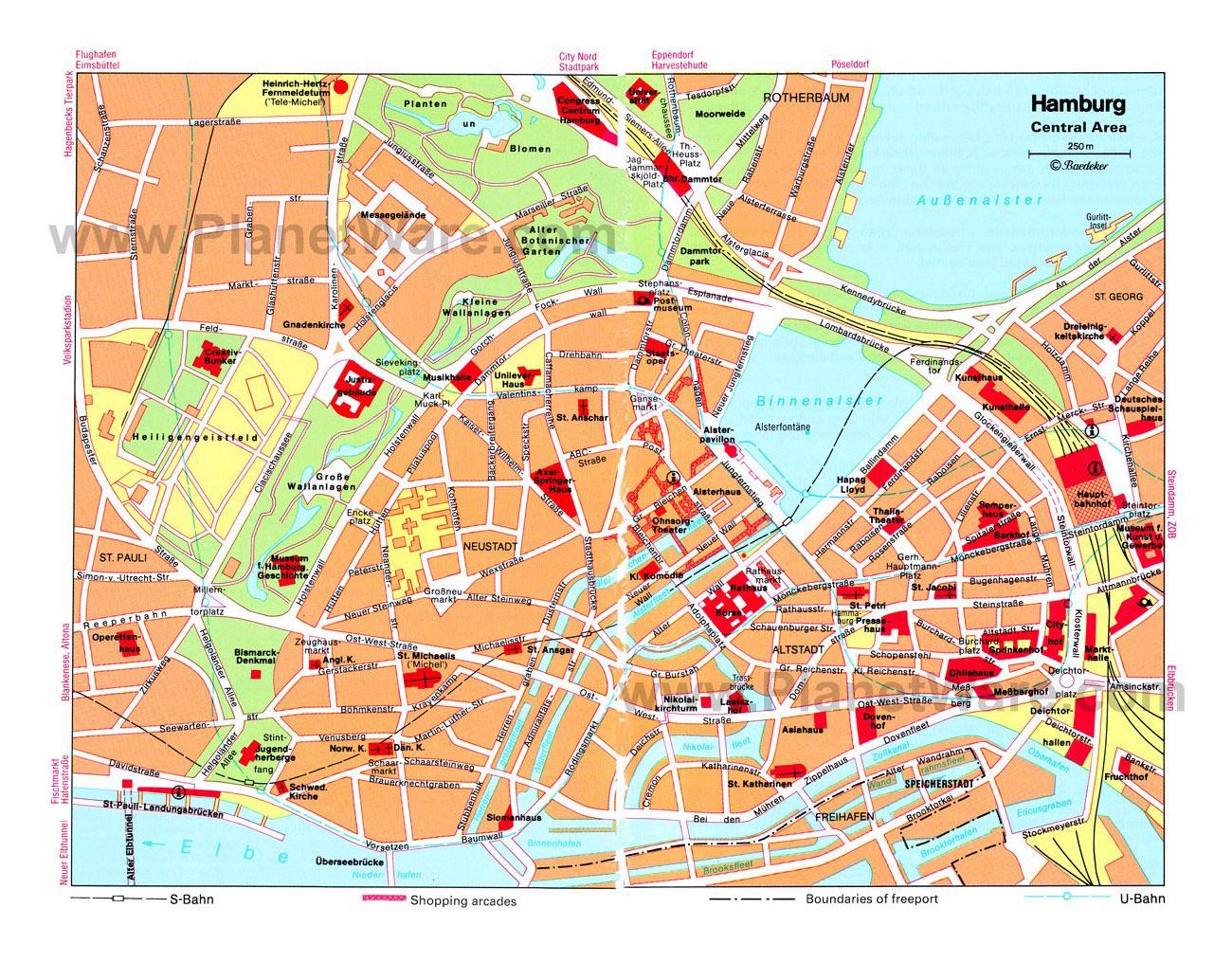 Map Of Germany Hamburg.Detailed Travel Map Of Central Part Of Hamburg City Hamburg