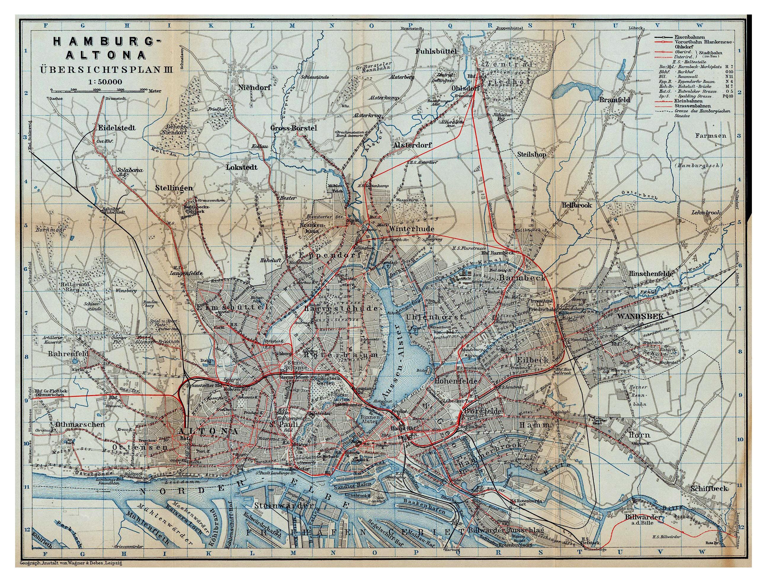 Large detailed old rail map of Hamburg city - 1910 | Hamburg ...