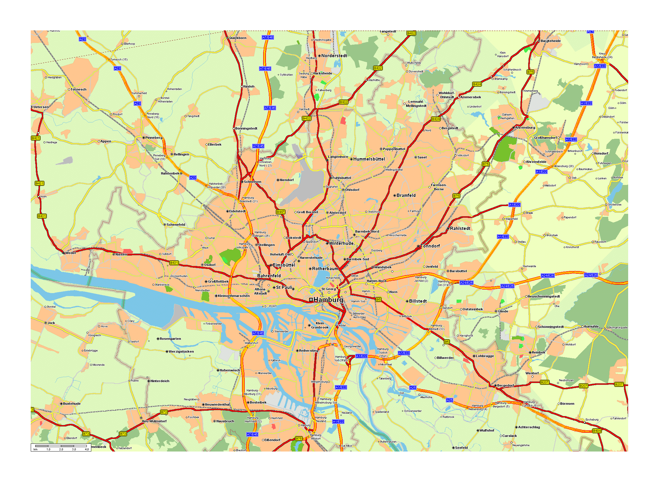 Large road map of Hamburg city and its surroundings ...