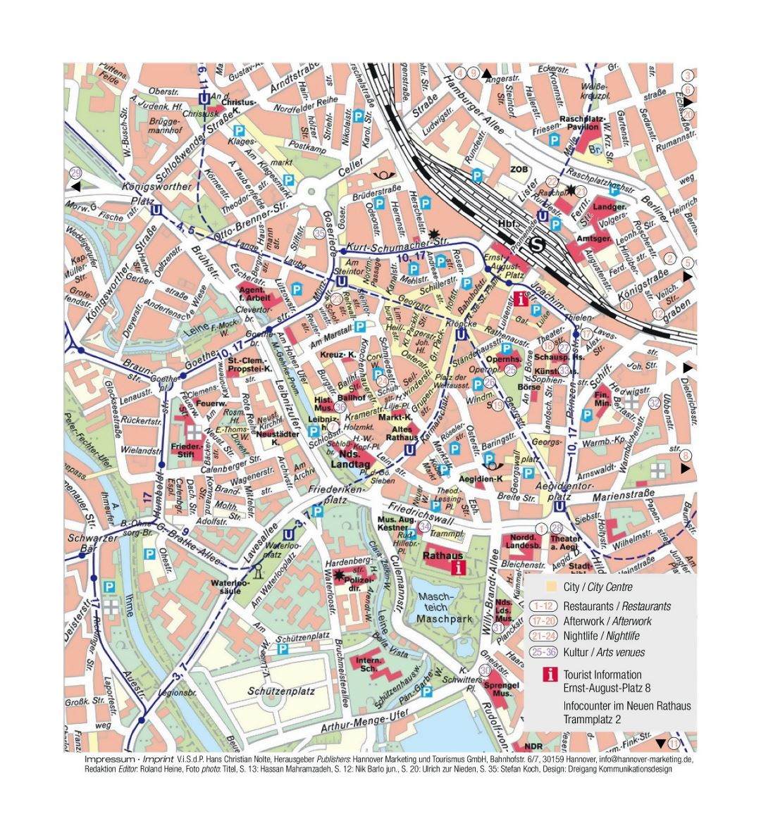 Detailed tourist map of central part of Hannover city