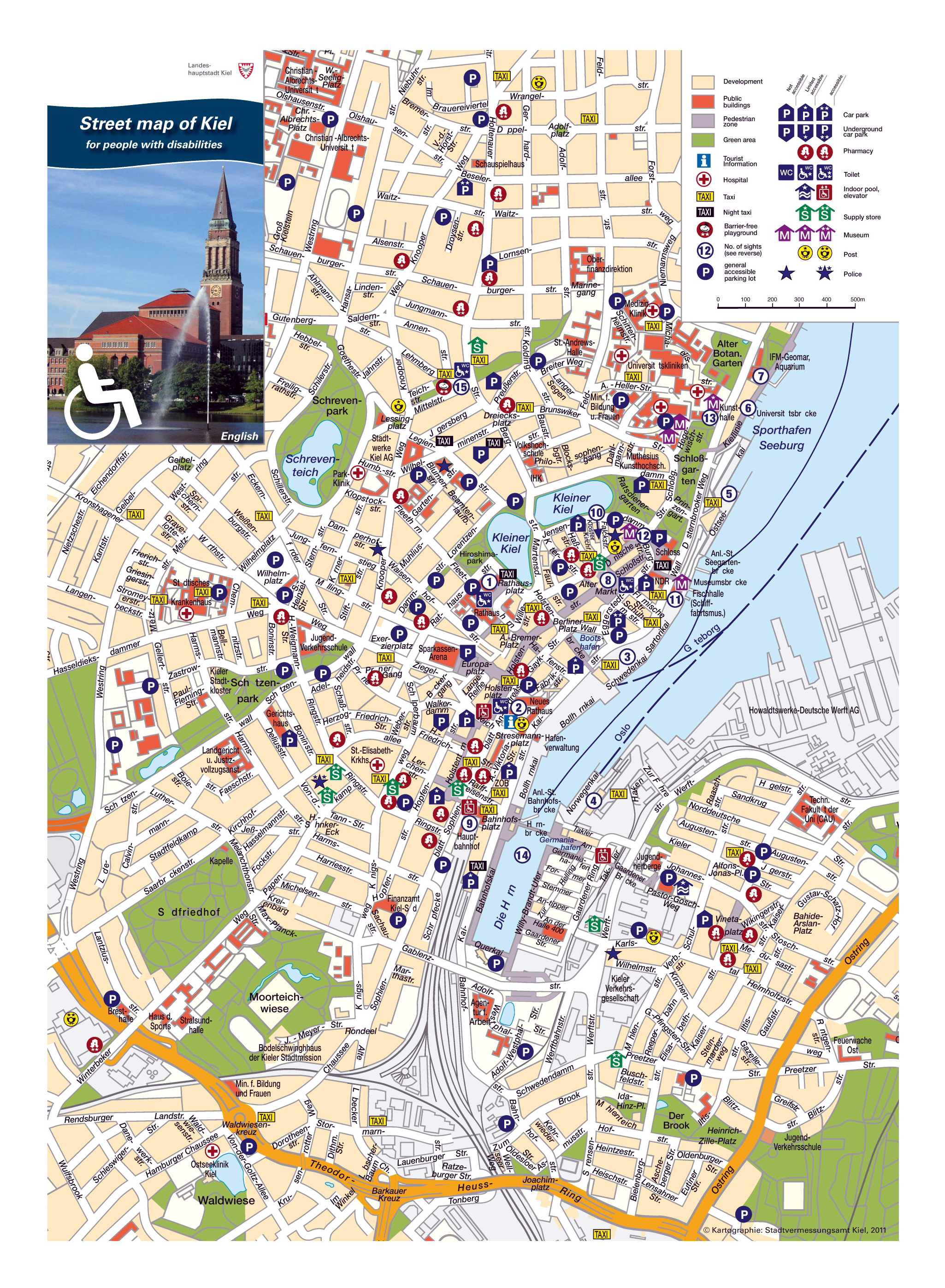Large detailed tourist attractions map of central part of Kiel city ...