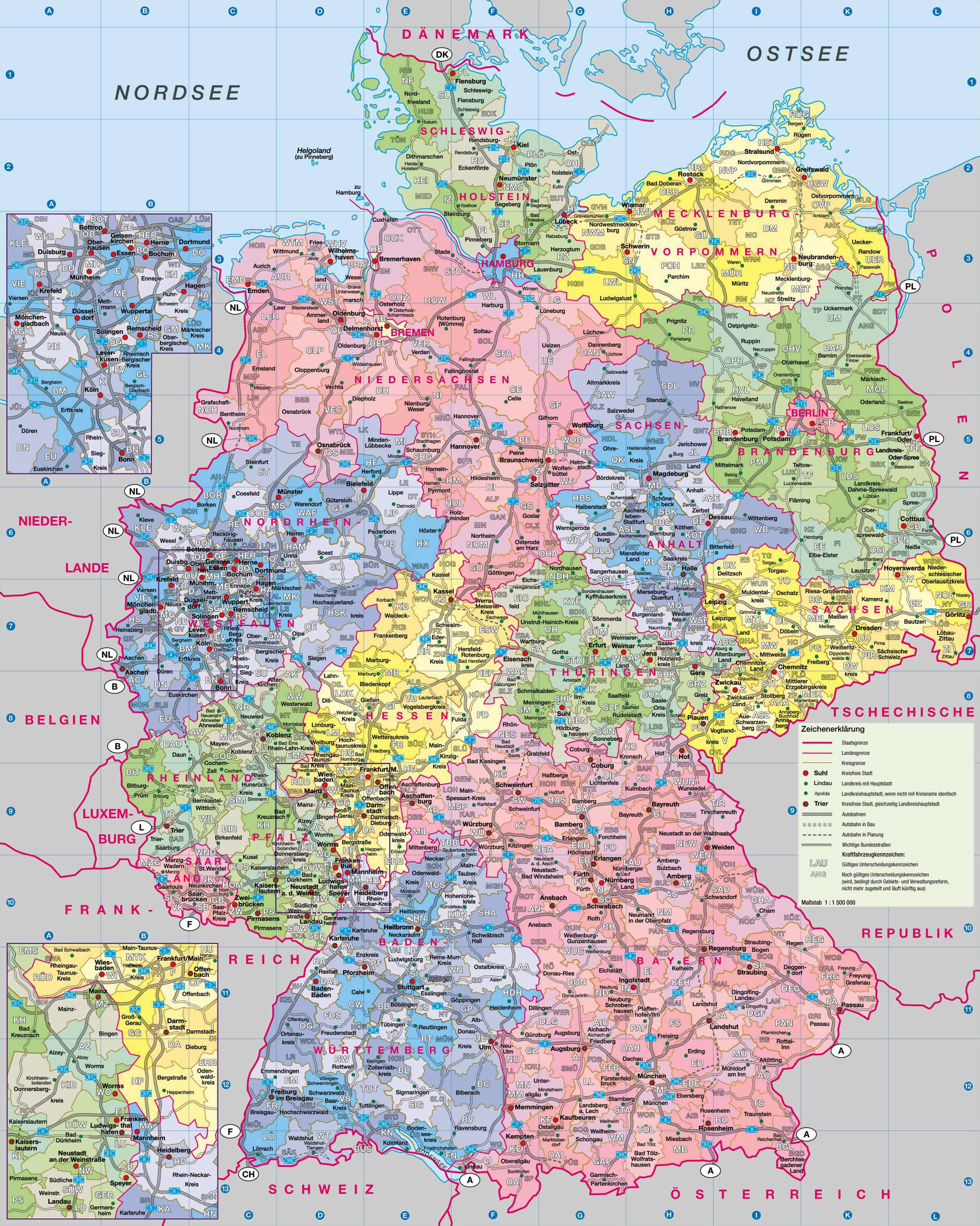 large administrative map of germany with roads and cities