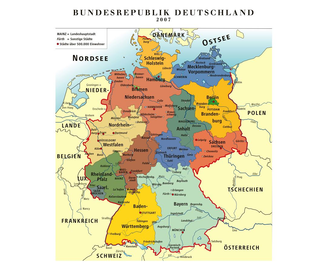 Large detailed administrative map of Germany