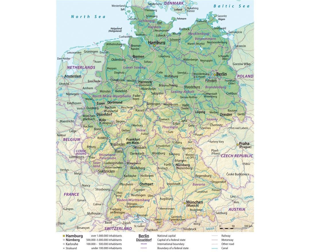 Large detailed elevation map of Germany with administrative divisions, roads and cities