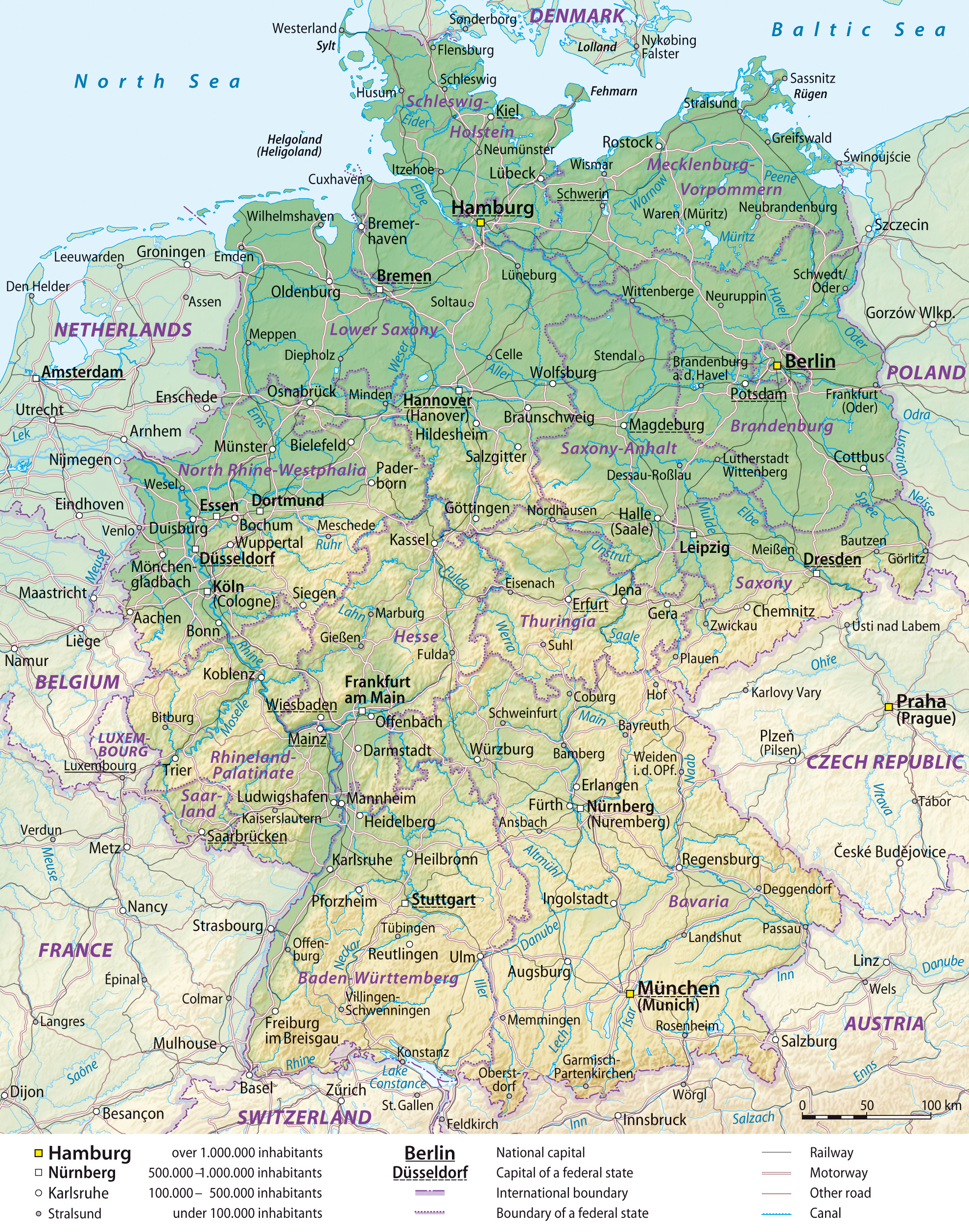 Large detailed elevation map of Germany with administrative