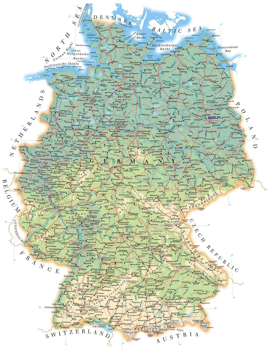 Large detailed elevation map of Germany with roads, cities and airports