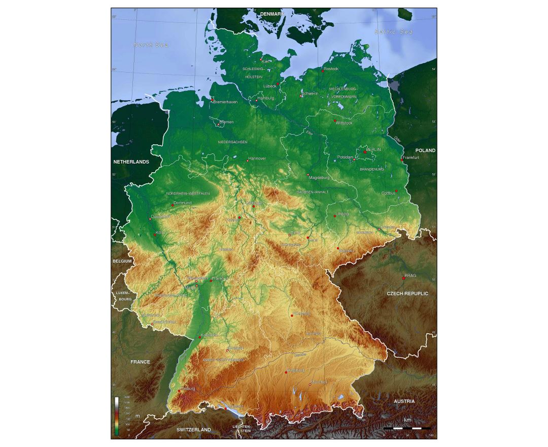 Large Detailed Physical Map Of Germany